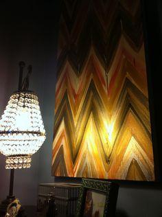 Golden Harvest 2, Chevron Ikat Paintings by Jennifer Moreman via Etsy.
