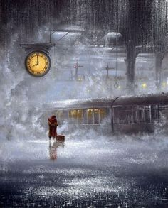 'Let it rain', painting by Jeff Rowland Jeff Rowland is a professional British painter who entered the fine art industry in 1984 having studied art at North Tyneside College. Rainy Night, Rainy Days, Stormy Night, Night Rain, Winter Night, I Love Rain, Rain Storm, As Time Goes By, Singing In The Rain