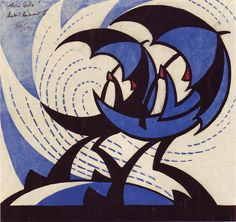Sybil Andrews, The Gale, 1930 (color linocut) by 50 Watts, via Flickr