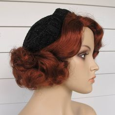 1950s Black Beaded Hat ... Cocktail By Marche by abbeysaccessories, $52.00
