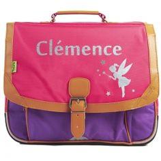 Cartable Tann's CP-CE1 rose-violet prénom et motif fée, personnalisé par les Griottes