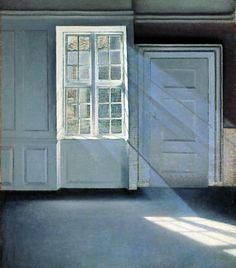 """Vilhelm Hammershøi's (1864-1916) painting """"Sunbeams or Sunshine. Dust Motes Dancing in the Sunbeams"""""""