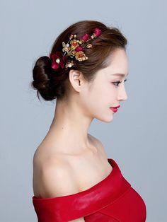Wine Red Silk Hair Flower Clip