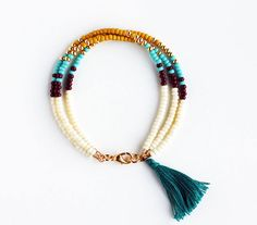 Multicolor Beaded Friendship Bracelet with Tassel - Cream Chocolate Butterscotch Yellow Turquoise Gold Peacock Green - Southwestern Jewelry, on ETSY Tassel Jewelry, Beaded Jewelry, Jewelery, Jewelry Bracelets, Handmade Jewelry, Handmade Bracelets, Bracelet Making, Jewelry Making, Friendship Bracelets With Beads