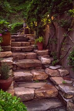 Stone stairs outdoor 38 ideas for 2019 Landscape Stairs, Landscape Design, Garden Design, Landscape Bricks, Backyard Patio, Backyard Landscaping, Landscaping Ideas, Stone Stairs, Stone Walkway