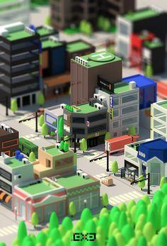 Isometric Korea City on Behance