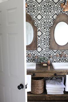 farmhouse style bathroom with cement tiles