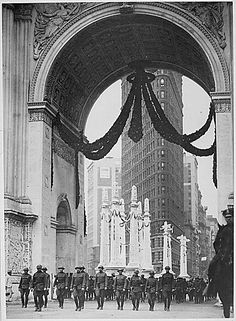 VINTAGE NYC: Colonel Donovan and staff of 165th Infantry, passing under the Victory Arch on 23rd Street and Broadway across from the Flatiron Building. The Arch was demolished soon after. 1919. NEW YORK CITY. (by The U.S. National Archives, via Flickr)