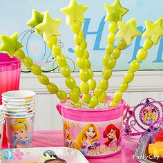 Create magical princess wands using fresh fruit, like cantaloupe and grapes. Click the pic for more magical princess party ideas!
