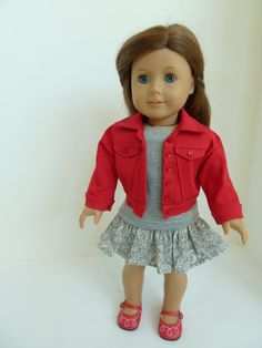 American Girl Doll Clothes - On the Go in Red and Grey 3 piece outfit includes red denim jacket, tshirt, ruffled skirt