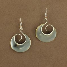 Oxidized Brass Round Swirl Dangle Earrings by Whitney Designs - Fire and Ice