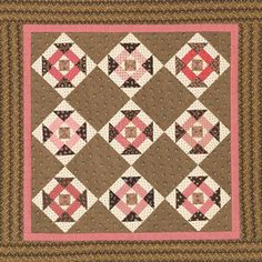 Quilts Made of Civil War Reproduction Fabrics -    Churn Dash of pink