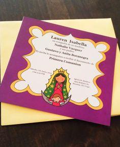 Virgencita First Communion Invitation PRINTABLE FILE invitacion de Primera Comunion y Bautizo Virgen de Guadalupe by gusannashop on Etsy https://www.etsy.com/listing/250271194/virgencita-first-communion-invitation