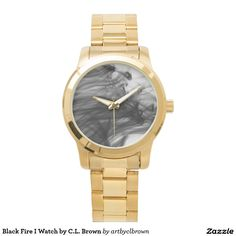 Black Fire I Oversized Gold Watch Designed by Artist C.L. Brown and available in a variety of styles on Zazzle. #watch #watches #fashion #artbyclbrown