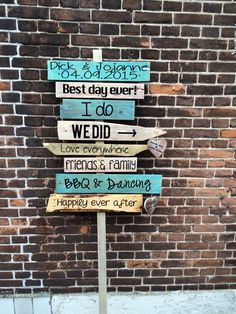 personalized personal wedding party road sign by Wedding Props, Wedding Signs, Wedding Day, Carribean Wedding, Family Bbq, Diy Garden Projects, Festival Wedding, Business Photos, Best Day Ever