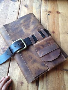 Large leather journal sketch book with buckle closure - rugged leather sketchbook journal with small pen pouch