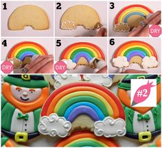 Rainbow cookies step by step! How to Decorate Leprechaun and Rainbow Cookies (Trolls Rainbow Cake) Iced Cookies, Cut Out Cookies, Holiday Cookies, Cake Cookies, Cupcakes, Rainbow Sugar Cookies, Sugar Cookie Royal Icing, Rainbow Cookie, Cookie Tutorials