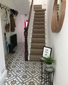 So is it safe to put the wellies and umbrellas away? It's been a dreadful few days up North we had water coming through the front bay… Hall Tiles, Tiled Hallway, Entrance Hall Decor, House Entrance, Hallway Colours, Hall Flooring, Diy Home Decor, Room Decor, Hallway Inspiration