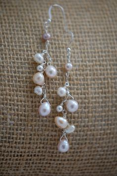 pink white mauve & peach freshwater pearl earrings. by adgiggles $15.00