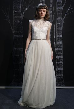 """Brides: Sarah Seven - Spring 2013. """"Fields of Flowers"""" sleeveless lace and organza A-line wedding dress with a high illusion neckline, Sarah Seven"""