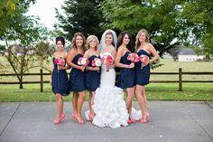 Seven Sister Designs - bride - bridesmaids - coral bouquet - coral and navy wedding  Toni Lynn Photography