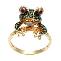 Galleria 14k Yellow Gold Ruby, Tsavorite and Diamond Accent Frog Ring - Overstock™ Shopping - Top Rated Soho Boutique Gemstone Rings