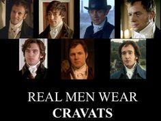 Men of the BBC: Mr. George Knightley, Mr. Edmund Bertram, Mr. Henry Tilney, Captain Fredrick Wentworth, Mr. Edward Ferrars, Colonel Brandon, and Mr. Fitzwilliam Darcy.