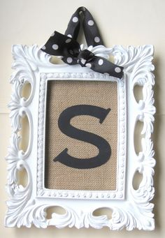 space 46: personalized gift: monogram on burlap frame