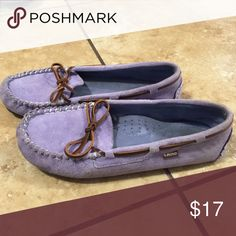 Light blue Lamo shoes Super comfy and a periwinkle kind of light blue or purple mix such a cute color. Size 8 and worn a few times but not enough to keep. Lamo Shoes Moccasins