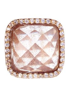 Faceted Rutilated Crystal Cushion Bezel Ring