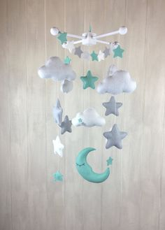 Baby mobile moon mobile cloud mobile by JuniperStreetDesigns