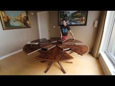 Expanding Circular Dining Table In Walnut   Johnson Furniture Co.