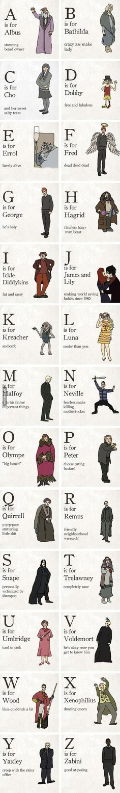 The Illustrated Alphabet Of Harry Potter Characters. these captions are so perfect. #harrypotterquotes