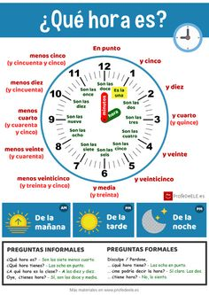 Infografía para aprender la #hora en español. Actividad online, materiales e infografía en alta calidad para descargar e imprimir en: http://bit.ly/2ed0FhT | Más materiales en www.profedeele.es