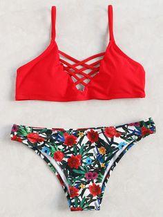 57ce19e299 SweatyRocks Women Red Bathing Suit Spaghetti Strap Floral Print Crisscross Bikini  Set