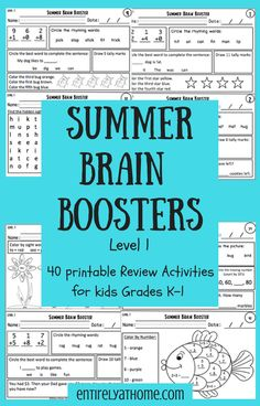 Click for a great summer review packet for kids grades K-1!