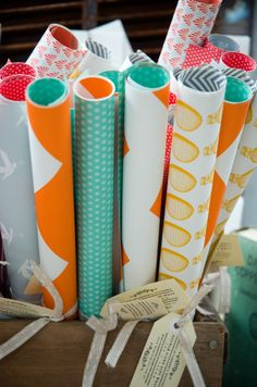 Love these wrapping papers! So bright and fresh and fun fr. one of our fave bloggers @decor8
