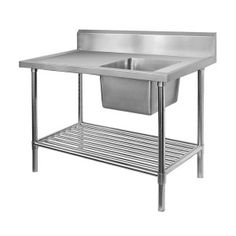Commercial Stainless Steel Sink Bench – We supply stainless steel single and double sink benches and Instant hot and cold water taps and other and commercial kitchen equipment to restaurants and catering services businesses in Australia. Commercial Sink, Potting Tables, Single Sink, Stainless Steel Sinks, Kitchen Equipment, Splashback, Bench, Shelves, Furniture