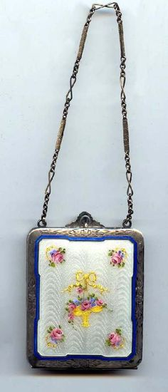 Enamel Guilloche Vanity by RCK with Basket of Roses and Forget-me-Nots on front. Click on pic for more photos.