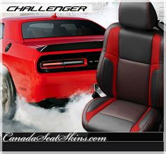 Dodge Challenger Barracuda Black with Red Stripe Leather Interior - canadaseatskins.com #leather