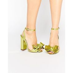 ASOS HARMONISE Heeled Sandals ($67) ❤ liked on Polyvore featuring shoes, sandals, sulphur metallic, open toe sandals, asos sandals, asos, bow sandals and high heel shoes