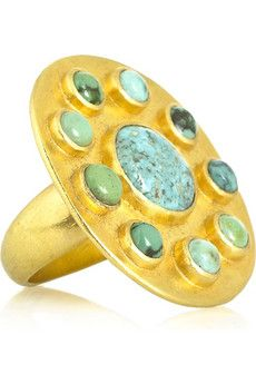 Pippa Small turquoise and gold stunning oversize ring