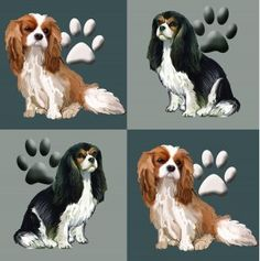 These spaniels are arrayed in a repeating pattern of earth tones, each spaniel block being about 6 by 6 inches, in a basic repeat pattern. The price
