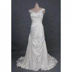 $143.13 Graceful Solid Color V-Neck Zipper Up Wedding Dress For Bride