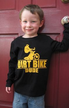27b95da44 Dirt Bike Dude Baby and Kids Long Sleeve TShirt by MotorMunchkins