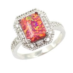 8.76$  Buy here - http://aidke.worlditems.win/all/product.php?id=J1134C-3 - 925 Sterling Silver Fashion CZ Diamond Square Cubic Simulated Opal Ring Women Girl Wedding Engagement Jewelry