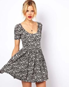 ASOS | ASOS Skater Dress In Vintage Wallpaper Print at ASOS