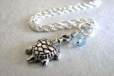 Sea Turtle Charm Anklet, Apatite Gemstone, Sterling Silver Ankle Bracelet, Mothers Day under 30, Summer Fashion on Etsy, $28.00