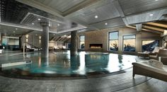 World class luxury ski holiday Chalet Abbruzes in Courchevel 1850 available to book through Ultimate Luxury Chalets. Fully Catered, Swimming Pool, Hot Tub, Sauna, Steam Room, Ski In Ski Out.
