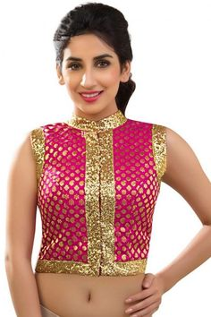 58ed3af3e6ad75 Buy Pink Banarsi and Brocade readymade-blouse readymade-blouse online. High  Neck Saree BlouseReadymade Blouses OnlineDesigner ...